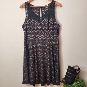 Candies Lace Black & Beige Sleeveless Dress XL